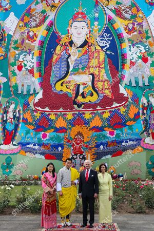 In this Handout photograph released by Bhutan Royal office for media shows Bhutan King Jigme Khesar Namgyel Wangchuck and Queen Jetsun Pema, left, with Stockholm Queen Silvia and King Carl Gustaf pose for media Tashichho Dzong in Thimphu, Bhutan