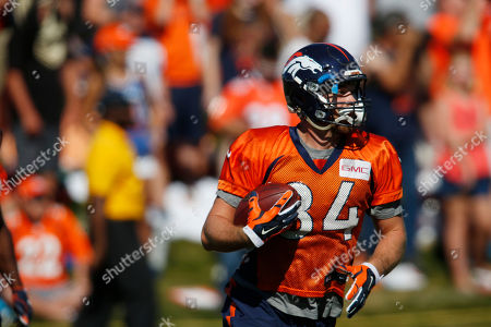 Denver Broncos tight end Henry Krieger Coble (84) during drills at the team's NFL football training camp in Englewood, Colo