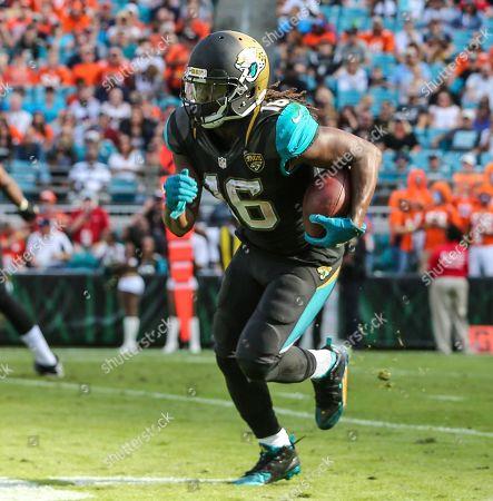 Jacksonville Jaguars running back Denard Robinson (16) runs the ball during the second half of an NFL football game against the Denver Broncos in Jacksonville, Fla