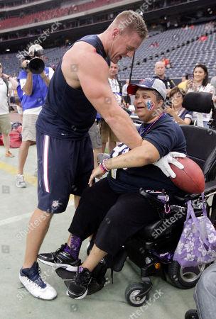J.J. Watt, Nicole Alexander. Houston Texans' J.J. Watt, left, visits fan Nicole Alexander, right, before an NFL preseason football game between the Denver Broncos and Houston Texans, in Houston