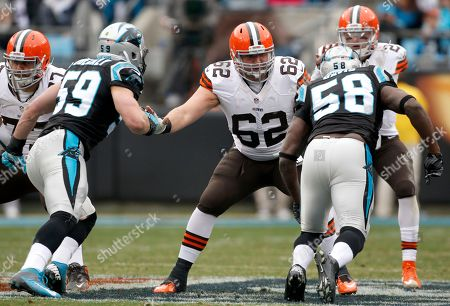 Michael Bowie, Luke Kuechly, Thomas Davis. After snapping the ball, Cleveland Browns' Michael Bowie (62) looks to slow down Carolina Panthers' Luke Kuechly (59) and Thomas Davis (58) during the first half of an NFL football game in Charlotte, N.C., . The Panthers won 17-13