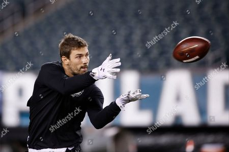 Stock Picture of Philadelphia Eagles' Riley Cooper warms up before an NFL football game against the Arizona Cardinals, in Philadelphia