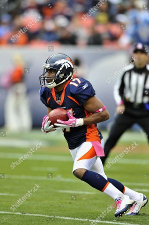 Denver Broncos wide receiver Quan Cosby runs during an NFL football game between the Denver Broncos and the San Diego Chargers, in Denver