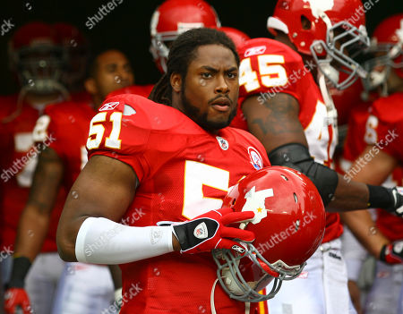 Kansas City Chiefs linebacker Corey Mays (51) before the start of an NFL football game with the San Diego Chargers, in Kansas City, Mo