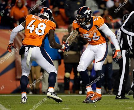 Shane Ray, Shaquil Barrett. Denver Broncos outside linebacker Shaquil Barrett (48) and Shane Ray (56) celebrate a stop against the Kansas City Chiefs during an NFL football game, in Denver. The Chiefs won 30-27 in overtime