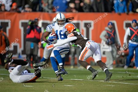 Josh Cribbs, K'Waun Williams. Indianapolis Colts' Josh Cribbs (16) is tackled by Cleveland Browns' K'Waun Williams on a kick return in the first quarter of an NFL football game, in Cleveland