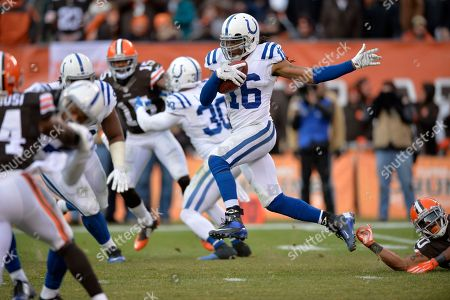 Indianapolis Colts' Josh Cribbs (16) returns a kick against the Cleveland Browns in the fourth quarter of an NFL football game, in Cleveland