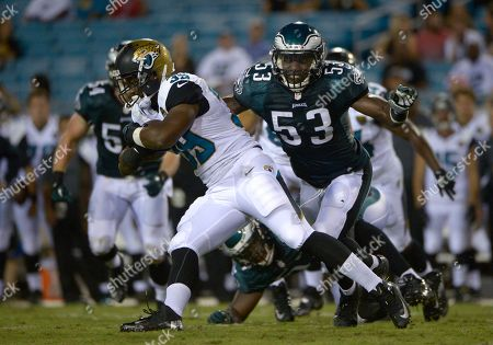 De'Leon Eskridge, Emmanuel Acho. Jacksonville Jaguars running back De'Leon Eskridge (39) rushes past Philadelphia Eagles linebacker Emmanuel Acho (53) during the second half of an NFL preseason football game in Jacksonville, Fla