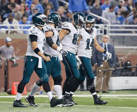 Brent Celek, Mark Sanches, Jason Kelce, Riley Cooper. Philadelphia Eagles tight end Brent Celek (87) walks off the field with quarterback Mark Sanchez (3), Jason Kelce and Riley Cooper (14) after scoring against the Detroit Lions during the first half of an NFL football game, in Detroit