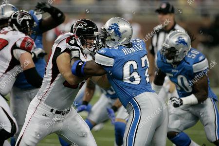 Ben Hartsock, Jason Hunter. Atlanta Falcons' Ben Hartsock, left, goes up against Detroit Lions' Jason Hunter in a NFL football game in Detroit