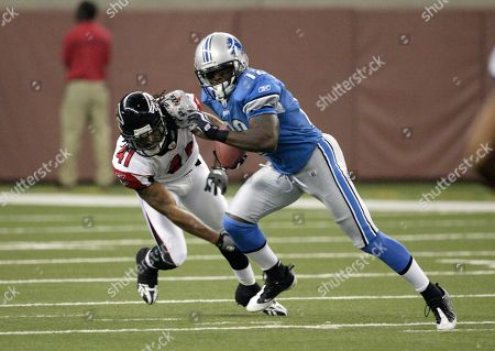 Derrick Williams, Antoine Harris. Detroit Lions wide receiver Derrick Williams (12) is pursued by Atlanta Falcons safety Antoine Harris in a NFL football game in Detroit