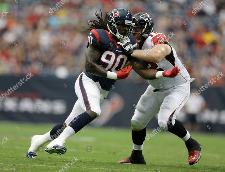 Sam Baker, Jadeveon Clowney. Houston Texans' Jadeveon Clowney (90) and Atlanta Falcons' Sam Baker (72) during the first quarter of an NFL preseason football game, in Houston