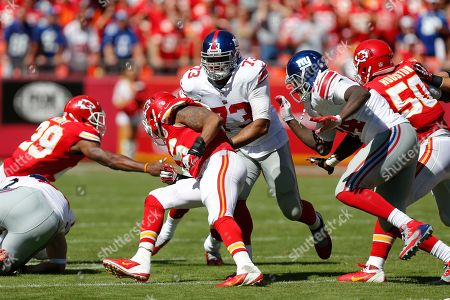 New York Giants guard James Brewer (73) blocks out during the second half of an NFL football game at Arrowhead Stadium in Kansas City, Mo