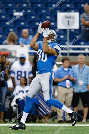 Detroit Lions tight end Joseph Fauria (80) during warm ups before an NFL football game against the New York Giants at Ford Field in Detroit