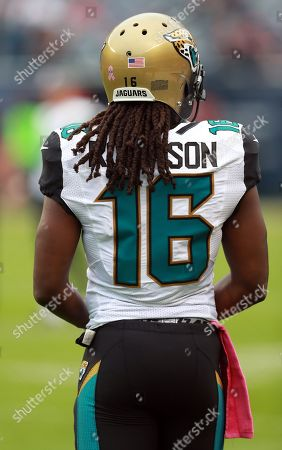 Jacksonville Jaguars running back Denard Robinson (16) waits on the sidelines before an NFL football game against the Chicago Bears in Chicago, . The Jaguars won the game 17-16
