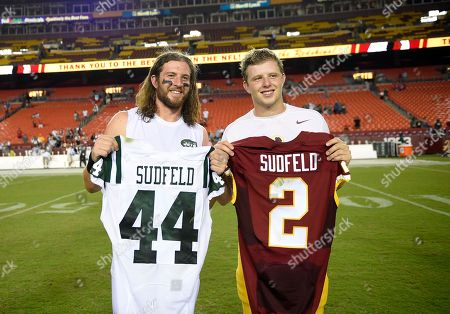 Nate Sudfeld, Zach Sudfeld. Washington Redskins quarterback Nate Sudfeld (2) and New York Jets tight end Zach Sudfeld (44) pose for photographers after an NFL preseason football game, in Landover, Md. The Redskins won 22-18