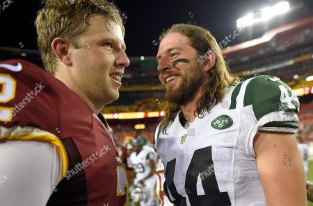 Nate Sudfeld, Zach Sudfeld. Brothers Washington Redskins quarterback Nate Sudfeld (2) and New York Jets tight end Zach Sudfeld (44) talk after an NFL preseason football game, in Landover, Md. The Redskins won 22-18