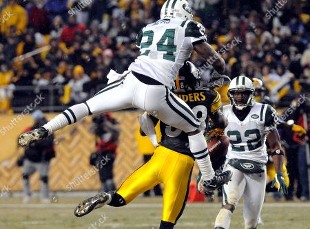 Darelle Revis, Emmanuel Sanders. New York Jets cornerback Darrelle Revis (24) breaks up a pass intended for Pittsburgh Steelers wide receiver Emmanuel Sanders (88) during an NFL football game in Pittsburgh, . New York won 22-17