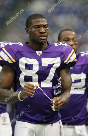 Stock Picture of Minnesota Vikings wide receiver Bernard Berrian is seen on the field during the first half an NFL football game against the Detroit Lions, in Minneapolis