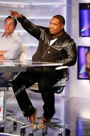 Former NFL player and NFL Network's Maurice Jones-Drew points during a media availability on set at the NFL Network studios, in Culver City, California