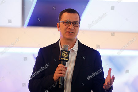 Jordan Levin, Chief Content Officer at NFL speaks during a media availability on set at the NFL Network studios, in Culver City, California