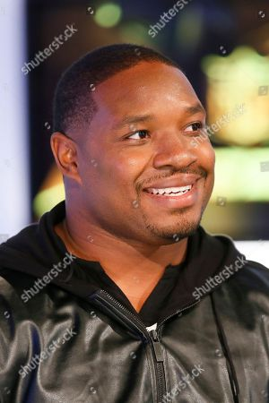 Former NFL player and NFL Network's Maurice Jones-Drew is interviewed during a media availability on set at the NFL Network studios, in Culver City, California