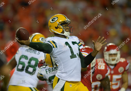Green Bay Packers quarterback Vince Young (13) throws against the Kansas City Chiefs during the first half of their NFL football game in Kansas City, Mo
