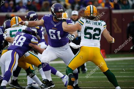 Joe Berger, Clay Matthews. Minnesota Vikings center Joe Berger (61) blocks Green Bay Packers inside linebacker Clay Matthews (52) during the first half of an NFL football game in Minneapolis