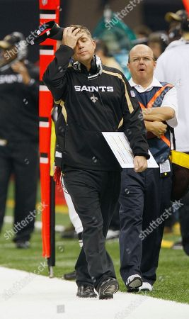 New Orleans Saints coach Sean Payton on the sidelines of the Saints Carolina Panthers game in the first half of an NFL football game in New Orleans, . [ (AP Photo/Bill Haber