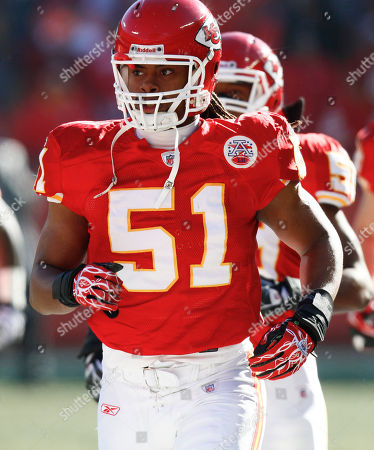 Kansas City Chiefs linebacker Corey Mays warms up before an NFL football game against the Oakland Raiders, in Kansas City, Mo