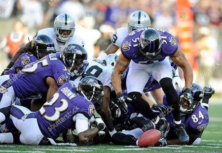 Baltimore Ravens linebacker Brendon Ayanbadejo (51) chases after a ball that was fumbled by the Oakland Raiders in the second half of an NFL football game in Baltimore, . Baltimore recovered the ball on the play