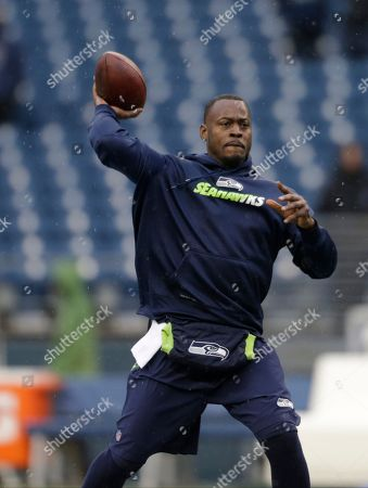 Seattle Seahawks quarterback Tarvaris Jackson during warmups before an NFL football game against the St. Louis Rams, in Seattle