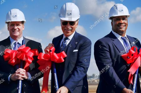 Stock Picture of Roger Goodell, Stan Kroenke, James T. Butts Jr. NFL Commissioner Roger Goodell, left joins Los Angeles Rams owner Stan Kroenke, center and Inglewood Mayor James T. Butts Jr., right, during the groundbreaking for the team's new stadium and entertainment district in Inglewood, Calif. on