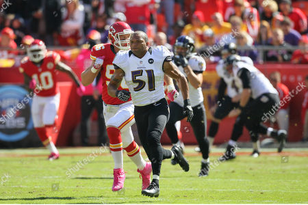 Baltimore Ravens linebacker Brendon Ayanbadejo (51) during the first half of an NFL football game against the Kansas City Chiefs at Arrowhead Stadium in Kansas City, Mo