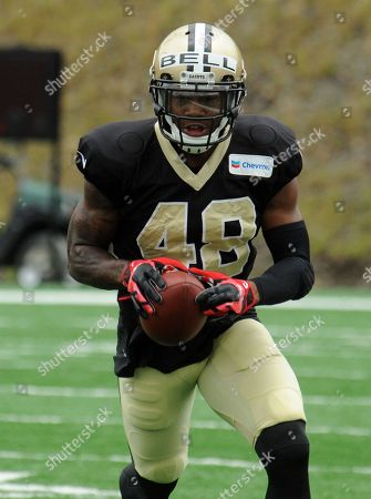 Stock Picture of New Orleans Saints safety Reggie Bell (48) runs the ball during the NFL football teams training camp in White Sulphur Springs, W.Va
