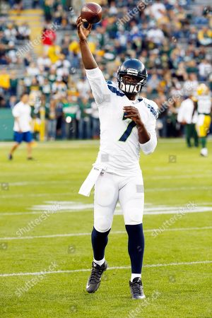 Seattle Seahawks' Tarvaris Jackson before an NFL football game against the Green Bay Packers, in Green Bay, Wis