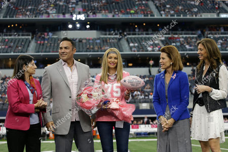 Tony Casillas, Dr. Judith Salerno, Tamara Casillas, Nancy Brinker, Charlotte Jones Anderson. L to R) Susan G. Komen CEO Dr. Judith Salerno, former Dallas Cowboys Tony Casillas, Tamara Casillas, Susan G. Komen Founder Nancy Brinker and Dallas Cowboys Vice President Charlotte Jones Anderson are recognized for Breast Cancer Awareness month before the start of the first half of an NFL football game against the Houston Texans, in Arlington, Texas