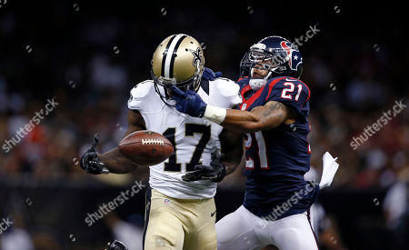 Josh Morgan, Darryl Morris. Houston Texans defensive back Darryl Morris (21) breaks up a pass intended for New Orleans Saints wide receiver Josh Morgan (17) in the second half of a preseason NFL football game in New Orleans