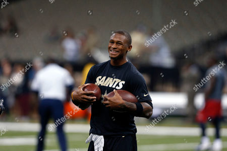 New Orleans Saints wide receiver Joseph Morgan warms up before an NFL preseason football game against the Houston Texans in New Orleans