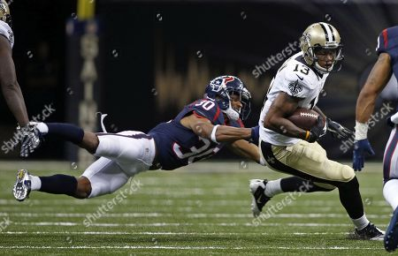 Kevin Johnson, Joseph Morgan. Houston Texans cornerback Kevin Johnson (30) tries to drag down New Orleans Saints wide receiver Joseph Morgan (13) in the second half of a preseason NFL football game in New Orleans, . The Texans won 27-13