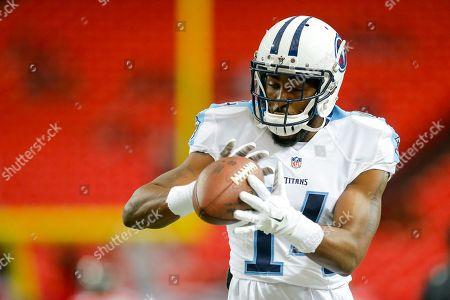 Tennessee Titans wide receiver Hakeem Nicks (14) works to make a catch while he warms up during an NFL game against the Atlanta Falcons at the Georgia Dome in Atlanta, Ga. on
