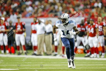 Tennessee Titans wide receiver Hakeem Nicks (14) runs a passing route during an NFL game against the Atlanta Falcons at the Georgia Dome in Atlanta, Ga. on