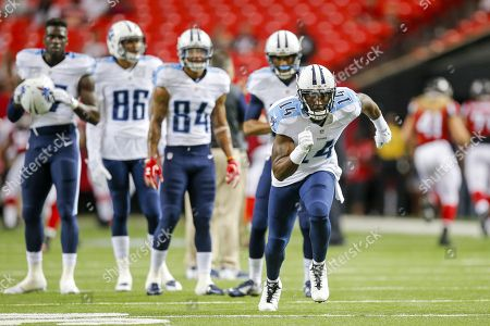 Tennessee Titans wide receiver Hakeem Nicks (14) runs a passing route while warming up before an NFL game against the Atlanta Falcons at the Georgia Dome in Atlanta, Ga. on
