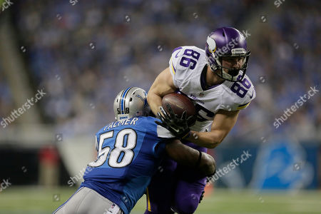 Chase Ford, Ashlee Palmer. Minnesota Vikings tight end Chase Ford (86) is tackled by Detroit Lions outside linebacker Ashlee Palmer (58) during the first half of an NFL football game at Ford Field in Detroit