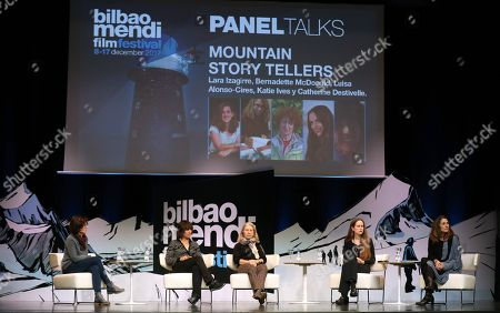 French climber Catherine Destivelle (2-L), Canadian writer Bernadette McDonald (C) and publishers Katie Ives (2-R) and Luisa Alonso-Cires (L), all of them experts in mountain climbing, and film director Lara Izaguirre (R), take part in a round table on climbing women's history as part of X. Bilbao Mendi Film Festival, in Bilbao, Basque Country, northern Spain, 10 December 2017.