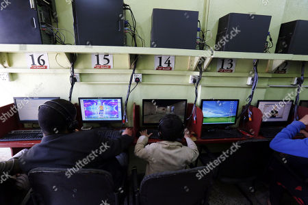 Yemenis sit in front of computers at an internet cafe in Sana'a, Yemen, 10 December 2017. According to reports, Houthi authorities have blocked several news websites with limited to no access to social media, specifically Facebook, Telegram, and Whatsapp, a week after Yemen's former president Ali Abdullah Saleh was killed by Houthi militants in Sana'a.