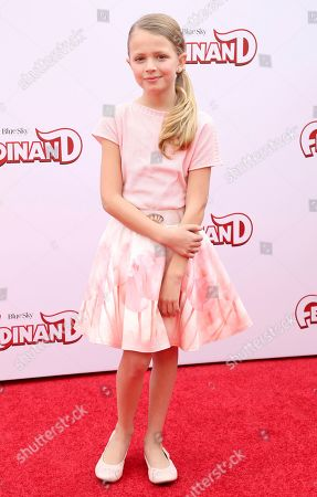 """Stock Picture of Giselle Eisenberg arrives at the LA Premiere of """"Ferdinand"""" at the 20th Century Fox Studio Lot, in Los Angeles"""