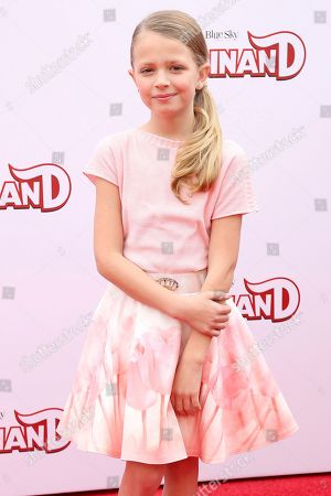 """Stock Image of Giselle Eisenberg arrives at the LA Premiere of """"Ferdinand"""" at the 20th Century Fox Studio Lot, in Los Angeles"""