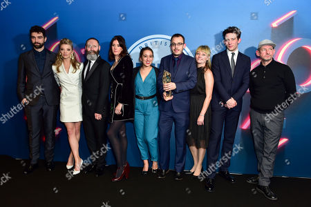Stock Photo of Francis Lee, Jack Tarling and Manon Ardisson win Best British Independent Film award ?Gods Own Country? presented by Natalie Dormer