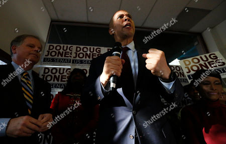 Sen. Cory Booker, speaks in support for democratic senatorial candidate Doug Jones during a campaign rally, in Birmingham, Ala